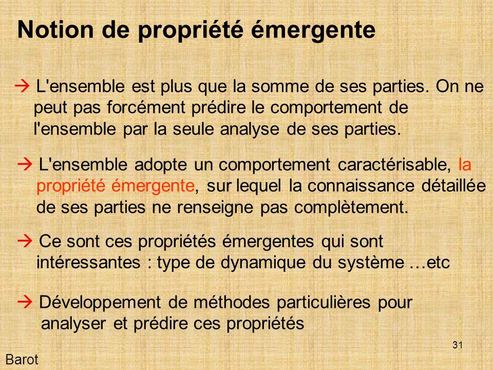 31 Barot Notion de propriété émergente L ensemble est plus que la somme de ses parties.