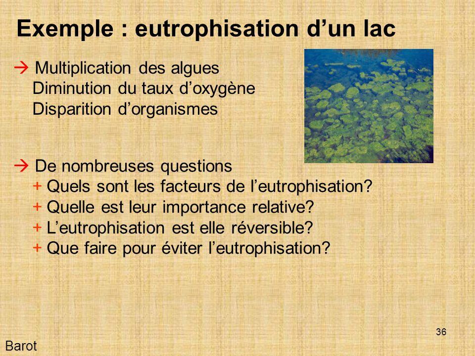 36 Barot Exemple : eutrophisation dun lac Multiplication des algues Diminution du taux doxygène Disparition dorganismes De nombreuses questions + Quels sont les facteurs de leutrophisation.
