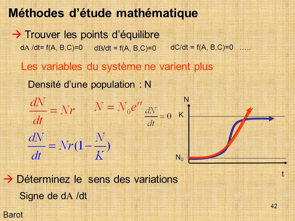 42 Barot Méthodes détude mathématique Trouver les points déquilibre Déterminez le sens des variations t N Densité dune population : N d /dt= f(A, B,C)=0 d dt = f(A, B,C)=0 dC/dt = f(A, B,C)=0 …..