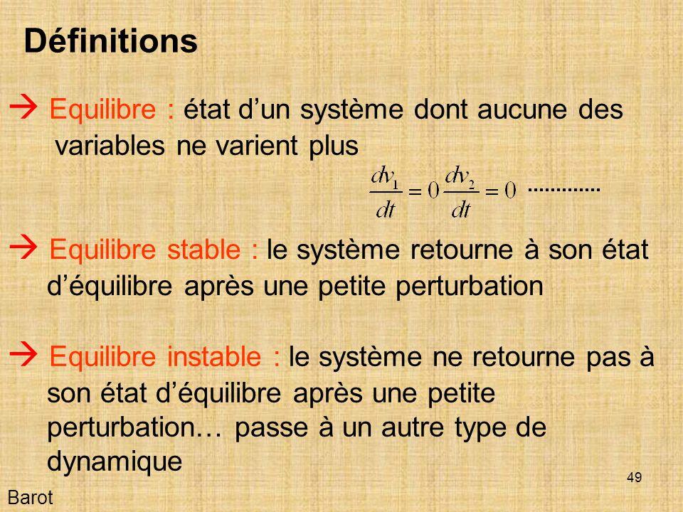 49 Barot Définitions Equilibre : état dun système dont aucune des variables ne varient plus Equilibre stable : le système retourne à son état déquilibre après une petite perturbation Equilibre instable : le système ne retourne pas à son état déquilibre après une petite perturbation… passe à un autre type de dynamique