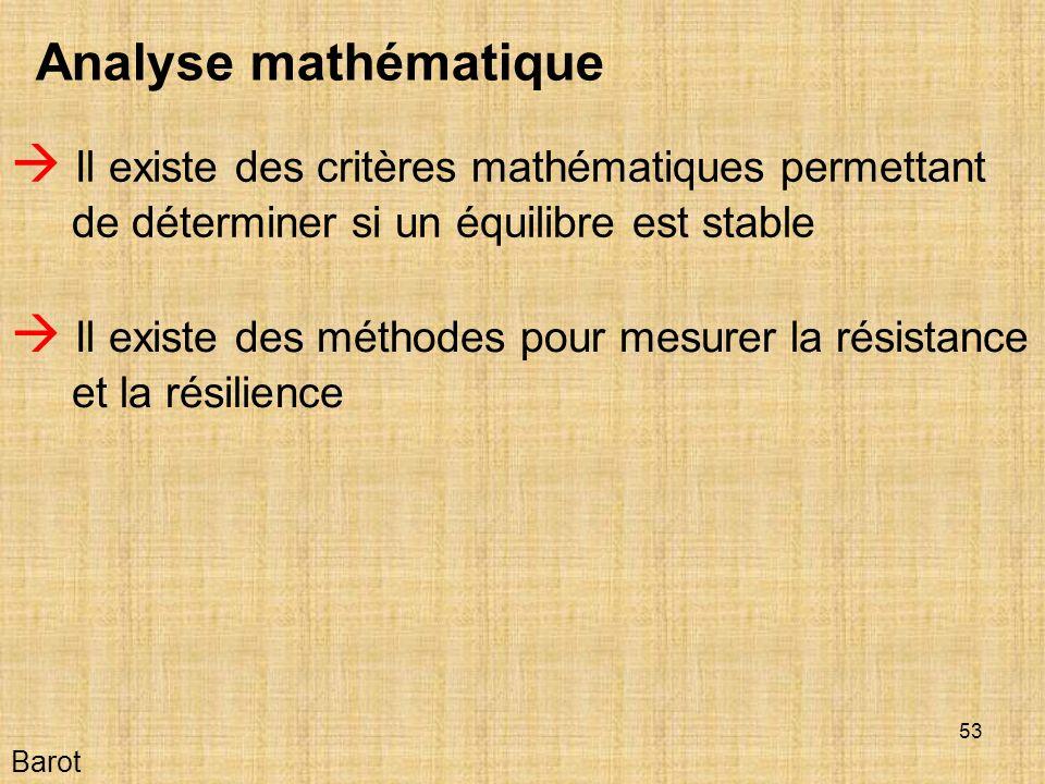 53 Barot Analyse mathématique Il existe des critères mathématiques permettant de déterminer si un équilibre est stable Il existe des méthodes pour mesurer la résistance et la résilience