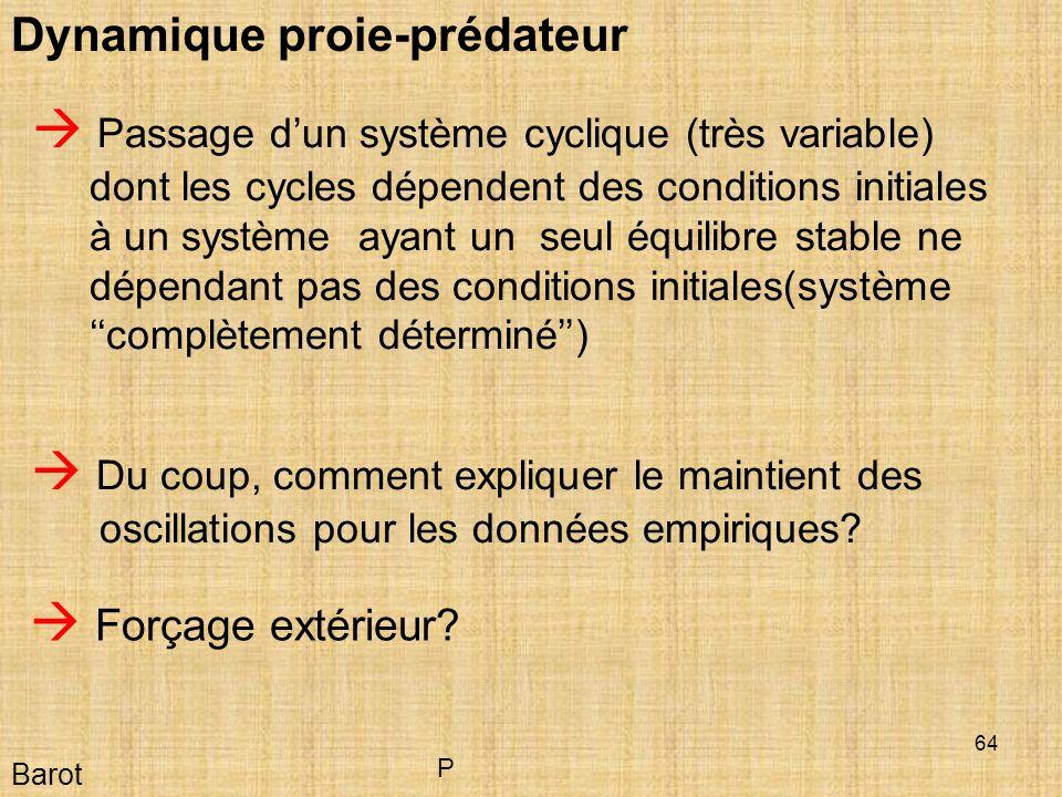 64 Barot Dynamique proie-prédateur Du coup, comment expliquer le maintient des oscillations pour les données empiriques.
