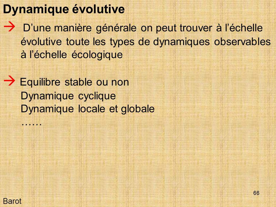 66 Barot Dynamique évolutive Dune manière générale on peut trouver à léchelle évolutive toute les types de dynamiques observables à léchelle écologique Equilibre stable ou non Dynamique cyclique Dynamique locale et globale ……