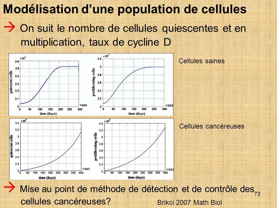 73 Modélisation dune population de cellules On suit le nombre de cellules quiescentes et en multiplication, taux de cycline D Cellules saines Cellules cancéreuses Mise au point de méthode de détection et de contrôle des cellules cancéreuses.