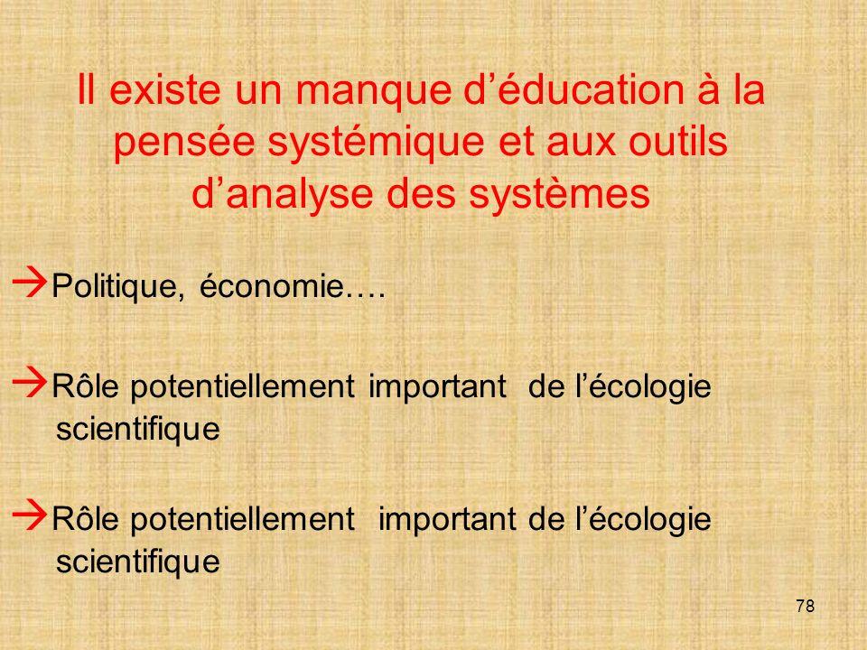 78 Il existe un manque déducation à la pensée systémique et aux outils danalyse des systèmes Politique, économie….