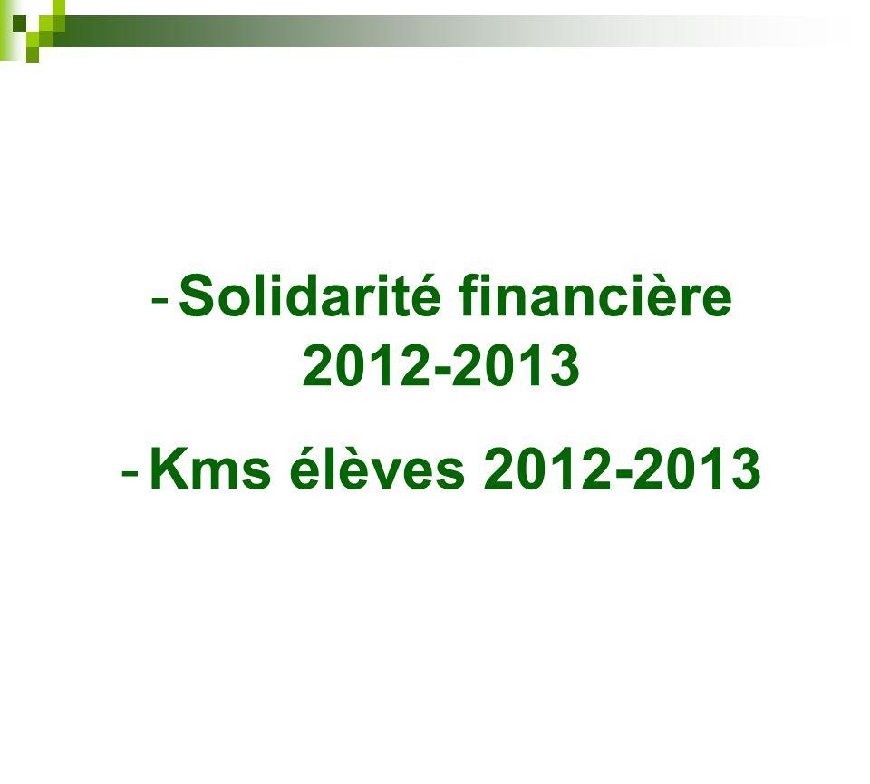 -Solidarité financière 2012-2013 -Kms élèves 2012-2013