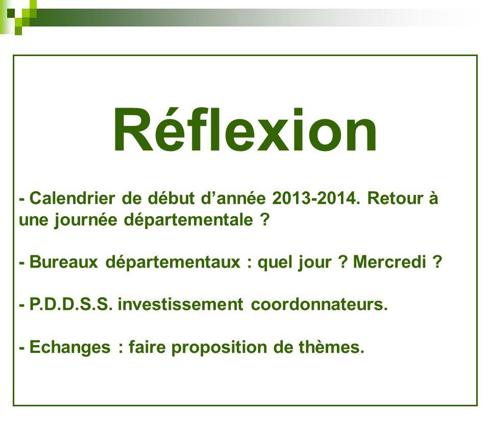 Réflexion - Calendrier de début dannée 2013-2014.Retour à une journée départementale .