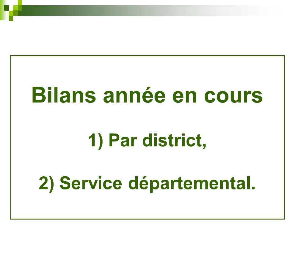 Bilans année en cours 1) Par district, 2) Service départemental.