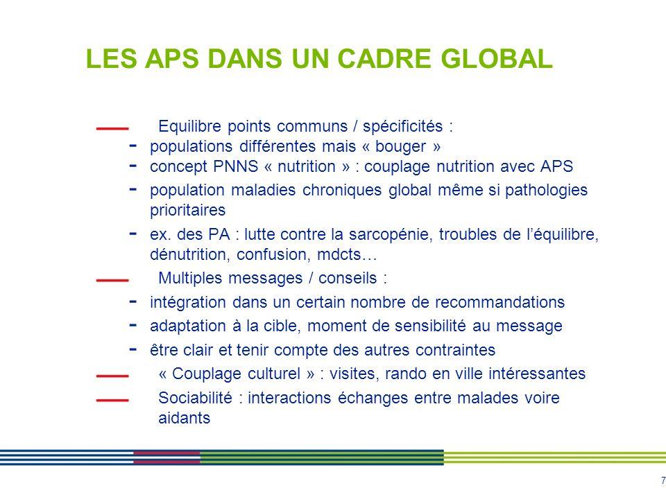 7 LES APS DANS UN CADRE GLOBAL Equilibre points communs / spécificités : - populations différentes mais « bouger » - concept PNNS « nutrition » : coup