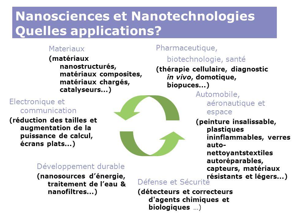Materiaux (matériaux nanostructurés, matériaux composites, matériaux chargés, catalyseurs...) Nanosciences et Nanotechnologies Quelles applications? E