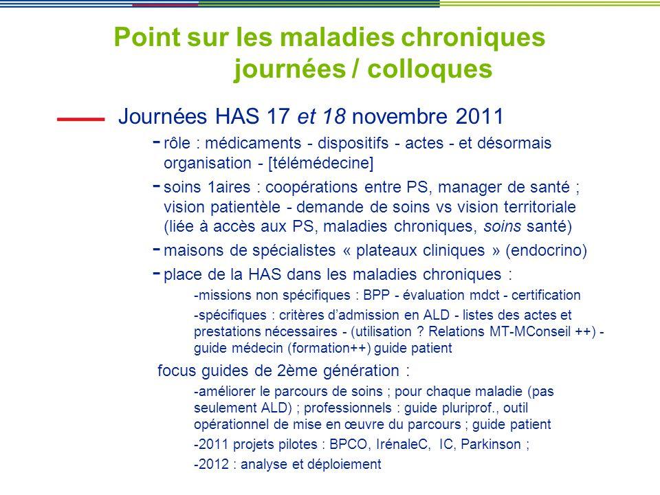Point sur les maladies chroniques journées / colloques Journées HAS 17 et 18 novembre 2011 - rôle : médicaments - dispositifs - actes - et désormais o
