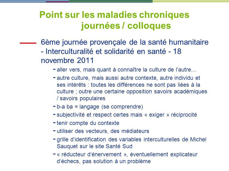 Point sur les maladies chroniques journées / colloques 6ème journée provençale de la santé humanitaire - Interculturalité et solidarité en santé - 18