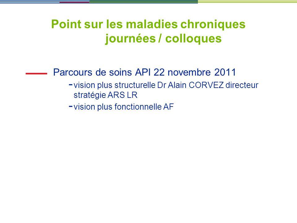 Point sur les maladies chroniques journées / colloques Parcours de soins API 22 novembre 2011 - vision plus structurelle Dr Alain CORVEZ directeur str