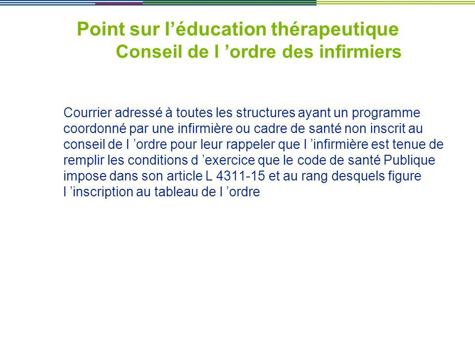 Point sur léducation thérapeutique Conseil de l ordre des infirmiers Courrier adressé à toutes les structures ayant un programme coordonné par une inf