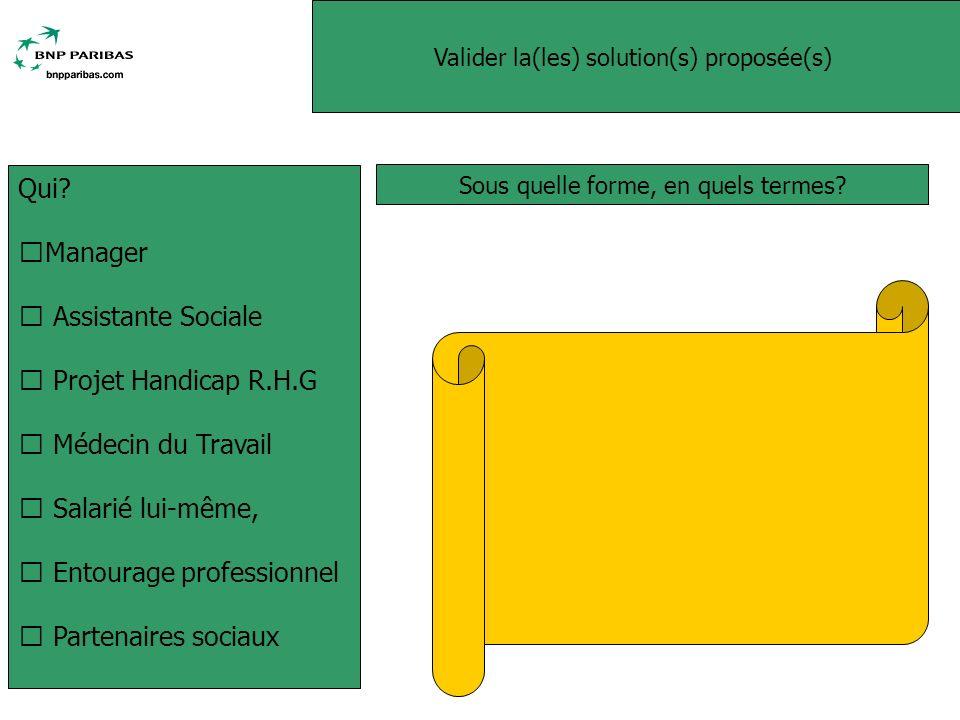 Valider la(les) solution(s) proposée(s) Sous quelle forme, en quels termes.