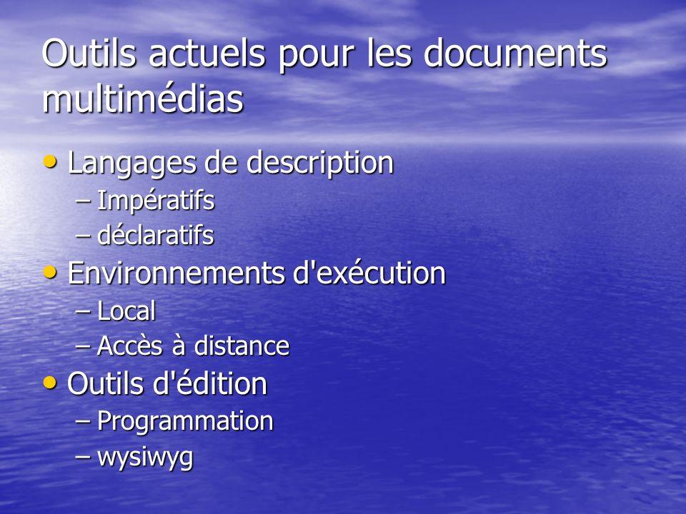 Outils actuels pour les documents multimédias Langages de description Langages de description –Impératifs –déclaratifs Environnements d'exécution Envi