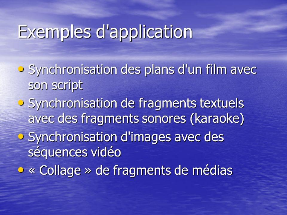 Exemples d'application Synchronisation des plans d'un film avec son script Synchronisation des plans d'un film avec son script Synchronisation de frag