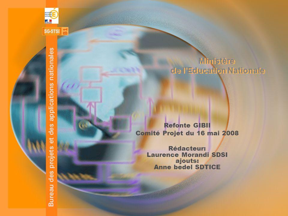 STSI B1 – SERIA - 1 - Ministère de lEducation Nationale Refonte GIBII Comité Projet du 16 mai 2008 Rédacteur: Laurence Morandi SDSI ajouts: Anne bedel