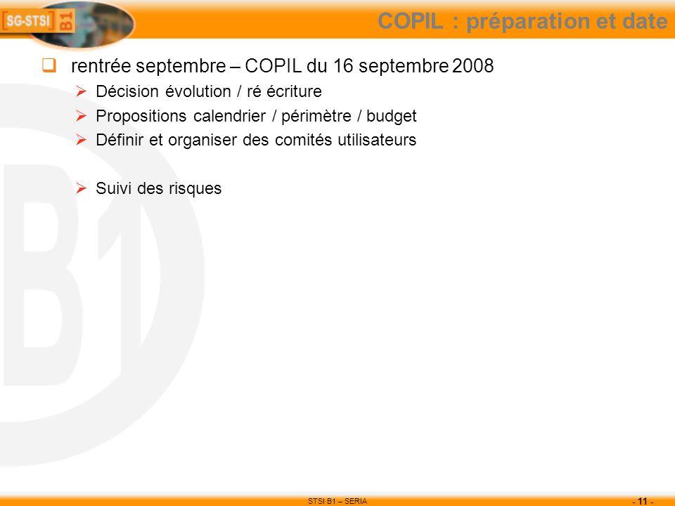 STSI B1 – SERIA - 11 - COPIL : préparation et date rentrée septembre – COPIL du 16 septembre 2008 Décision évolution / ré écriture Propositions calend