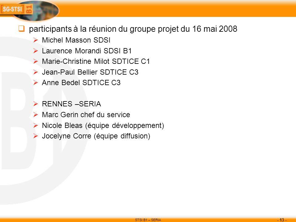 STSI B1 – SERIA - 13 - participants à la réunion du groupe projet du 16 mai 2008 Michel Masson SDSI Laurence Morandi SDSI B1 Marie-Christine Milot SDT