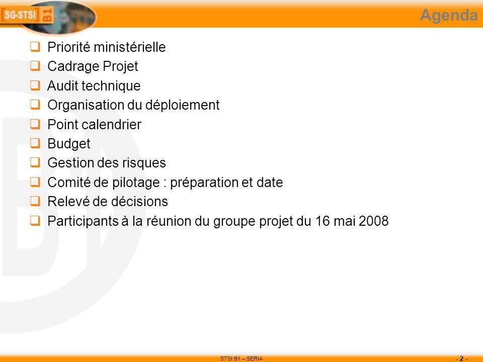 STSI B1 – SERIA - 2 - Agenda Priorité ministérielle Cadrage Projet Audit technique Organisation du déploiement Point calendrier Budget Gestion des ris