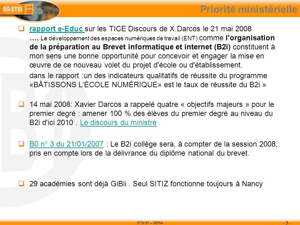 STSI B1 – SERIA - 3 - Priorité ministérielle rapport e-Educ sur les TICE Discours de X.Darcos le 21 mai 2008 …. Le développement des espaces numérique