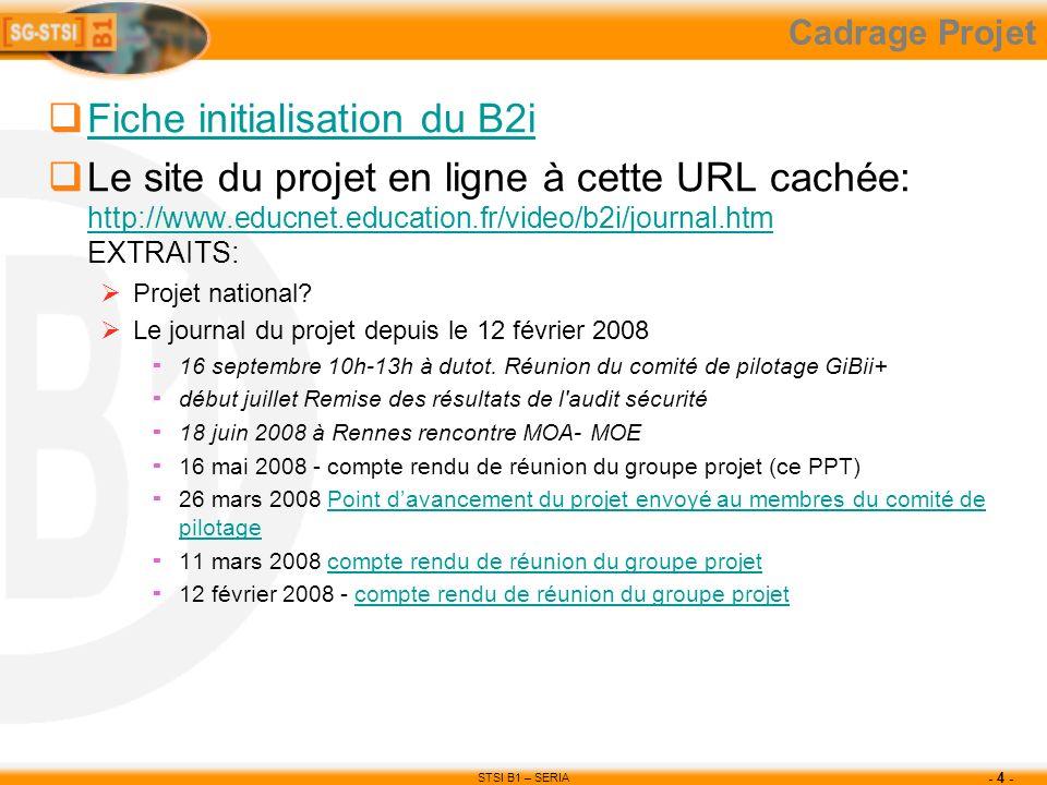 STSI B1 – SERIA - 4 - Cadrage Projet Fiche initialisation du B2i Le site du projet en ligne à cette URL cachée: http://www.educnet.education.fr/video/