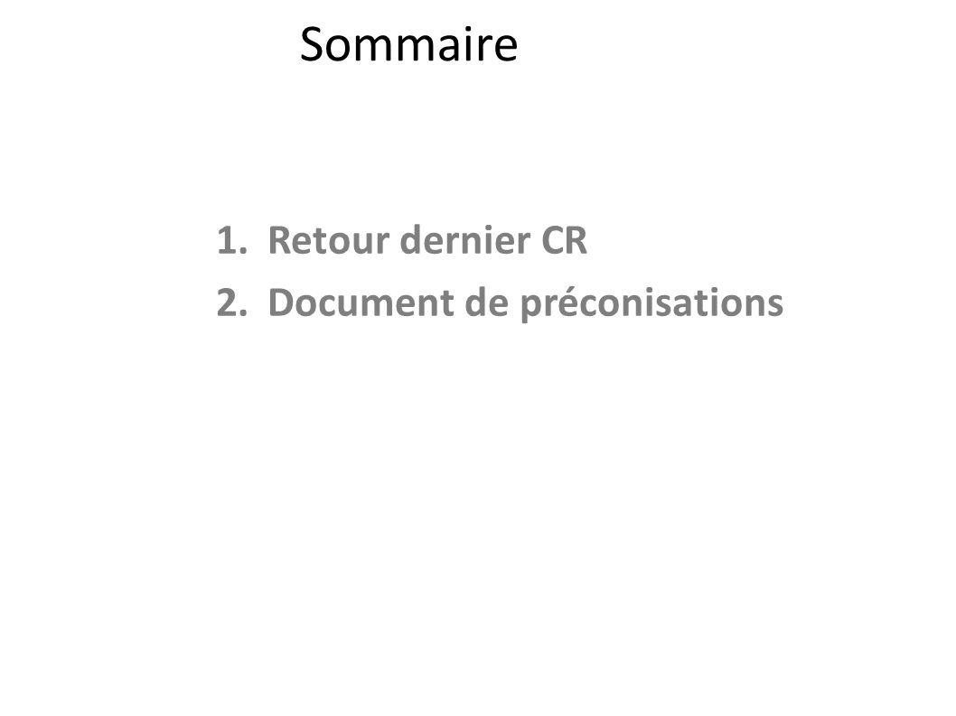 Sommaire 1.Retour dernier CR 2.Document de préconisations 2