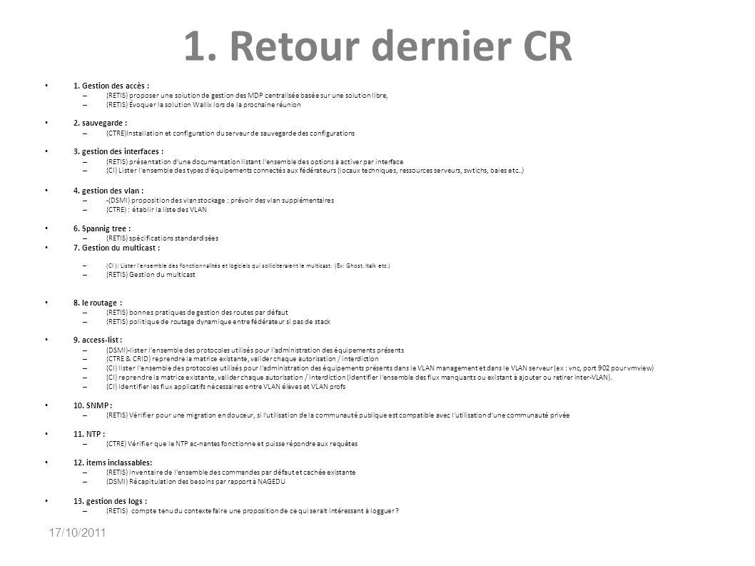1. Retour dernier CR 1. Gestion des accès : – (RETIS) proposer une solution de gestion des MDP centralisée basée sur une solution libre, – (RETIS) Évo