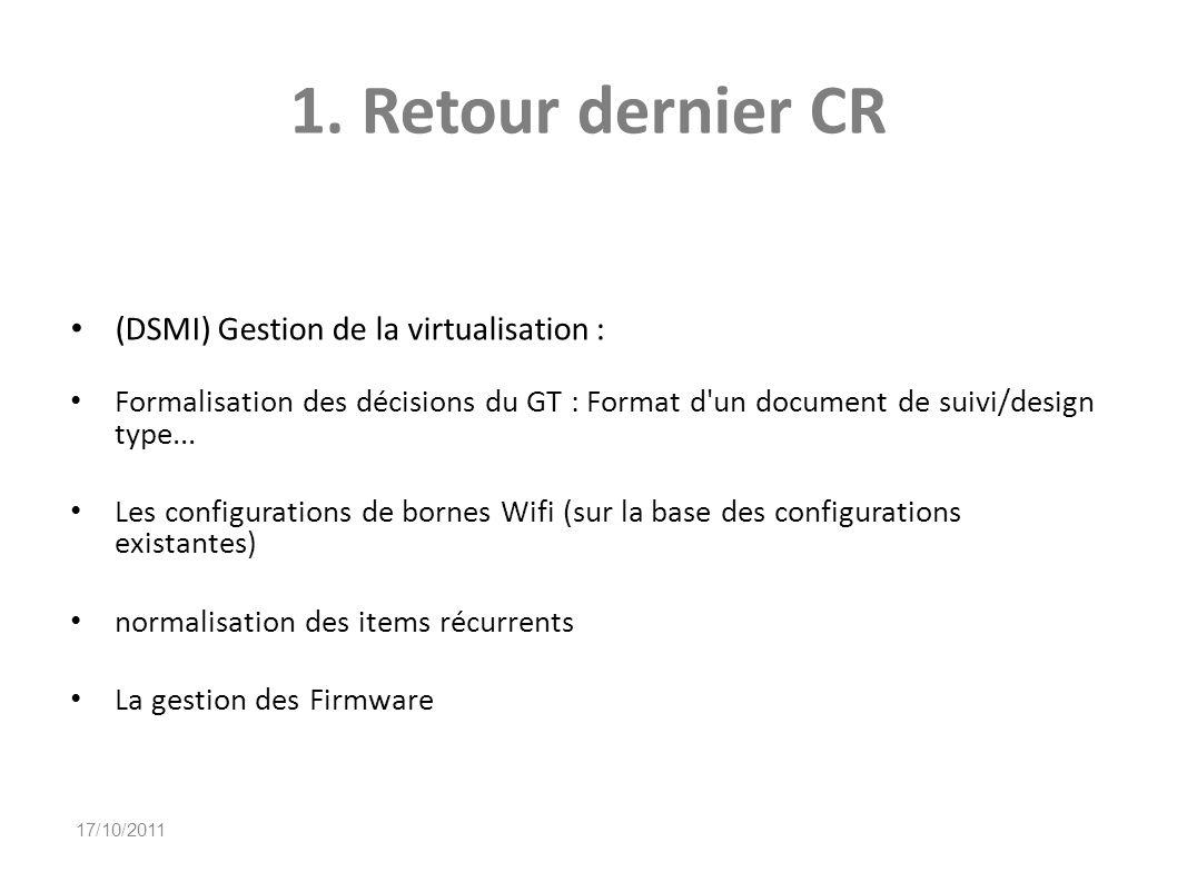 1. Retour dernier CR (DSMI) Gestion de la virtualisation : Formalisation des décisions du GT : Format d'un document de suivi/design type... Les config