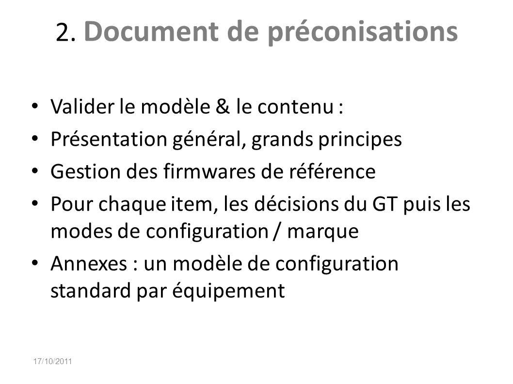 2. Document de préconisations Valider le modèle & le contenu : Présentation général, grands principes Gestion des firmwares de référence Pour chaque i
