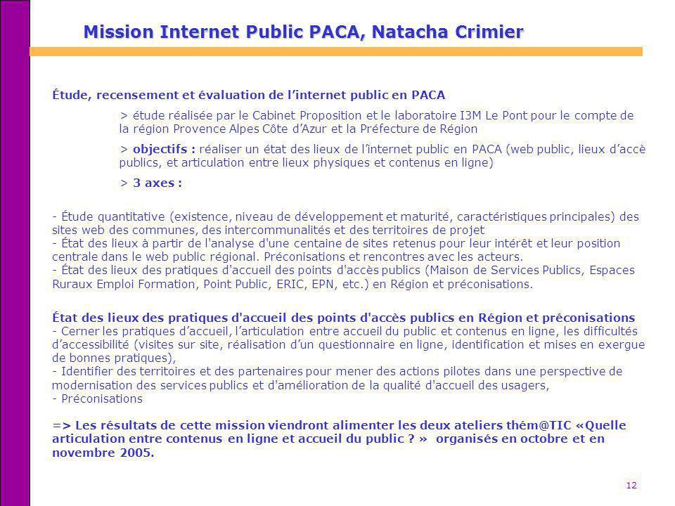 12 Mission Internet Public PACA, Natacha Crimier Étude, recensement et évaluation de linternet public en PACA > étude réalisée par le Cabinet Proposit