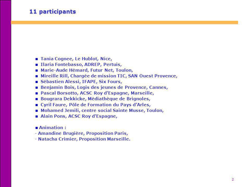2 11 participants Tania Cognee, Le Hublot, Nice, Ilaria Fontebasso, ADREP, Pertuis, Marie-Aude Hémard, Futur Net, Toulon, Mireille Rill, Chargée de mi