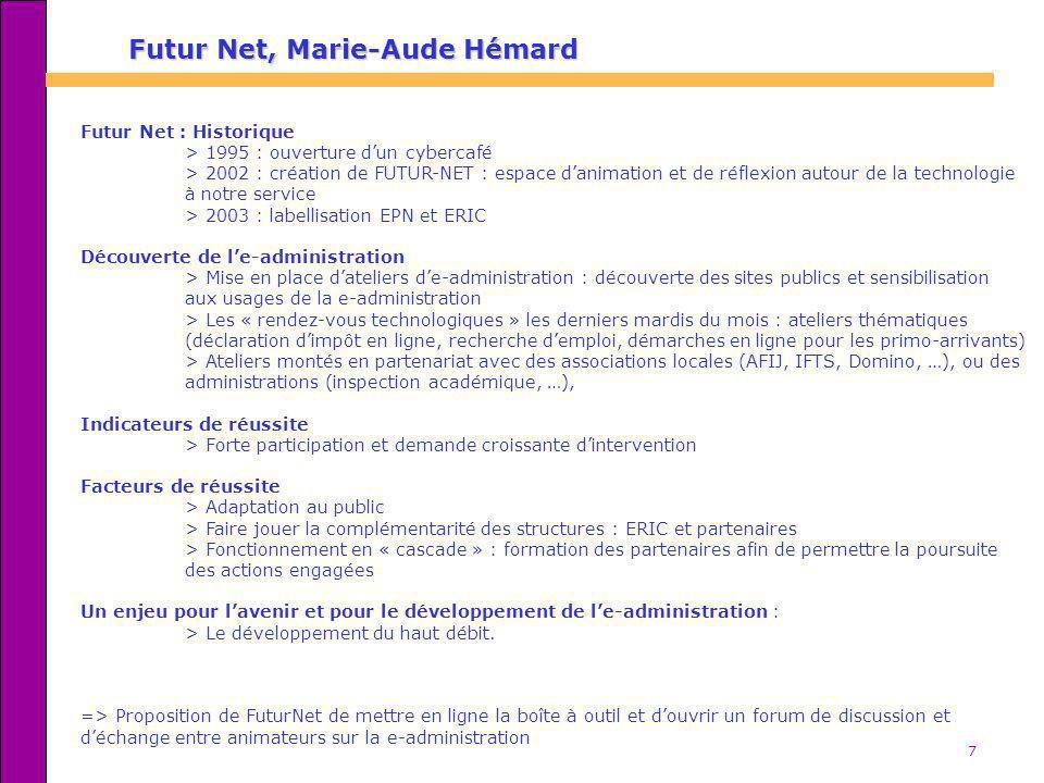 7 Futur Net : Historique > 1995 : ouverture dun cybercafé > 2002 : création de FUTUR-NET : espace danimation et de réflexion autour de la technologie