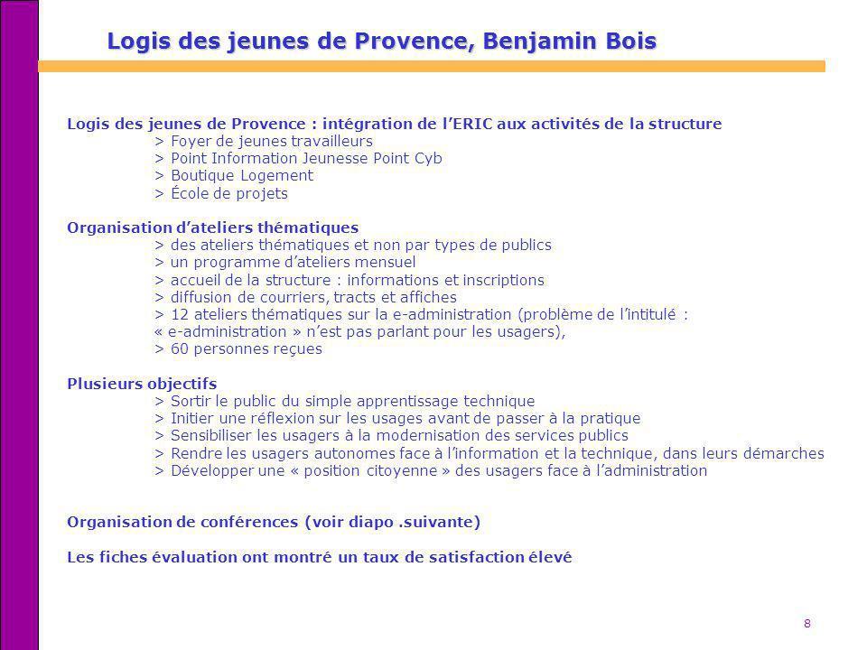 9 Le Syndicat dAgglomération Nouvelle > 1984 : le Syndicat Communautaire dAménagement regroupe les communes de Fos-sur-Mer, Istres et Miramas > 2002 : le SAN s est élargi à trois nouvelles communes : Cornillon-Confoux, Grans et Port-St-Louis-du-Rhône > 5 EPN (Mediacit) étaient répartis sur lagglomération, et ont fonctionné pendant 5 ans > A la fermeture des EPN, lensemble de léquipe a été réintégrée au sein de lintercommunalité, (18 personnes), et est rattachée au service communication > Des structures existantes ont permis de faire le relais : bibliothèques, centres sociaux, etc.
