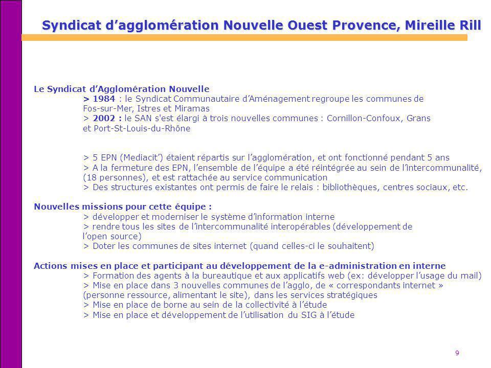 9 Le Syndicat dAgglomération Nouvelle > 1984 : le Syndicat Communautaire dAménagement regroupe les communes de Fos-sur-Mer, Istres et Miramas > 2002 :