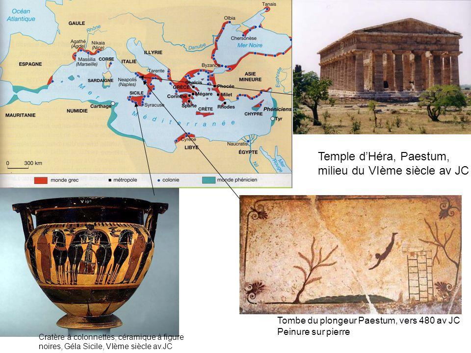 Tombe du plongeur Paestum, vers 480 av JC Peinure sur pierre Temple dHéra, Paestum, milieu du VIème siècle av JC Cratère à colonnettes, céramique à fi