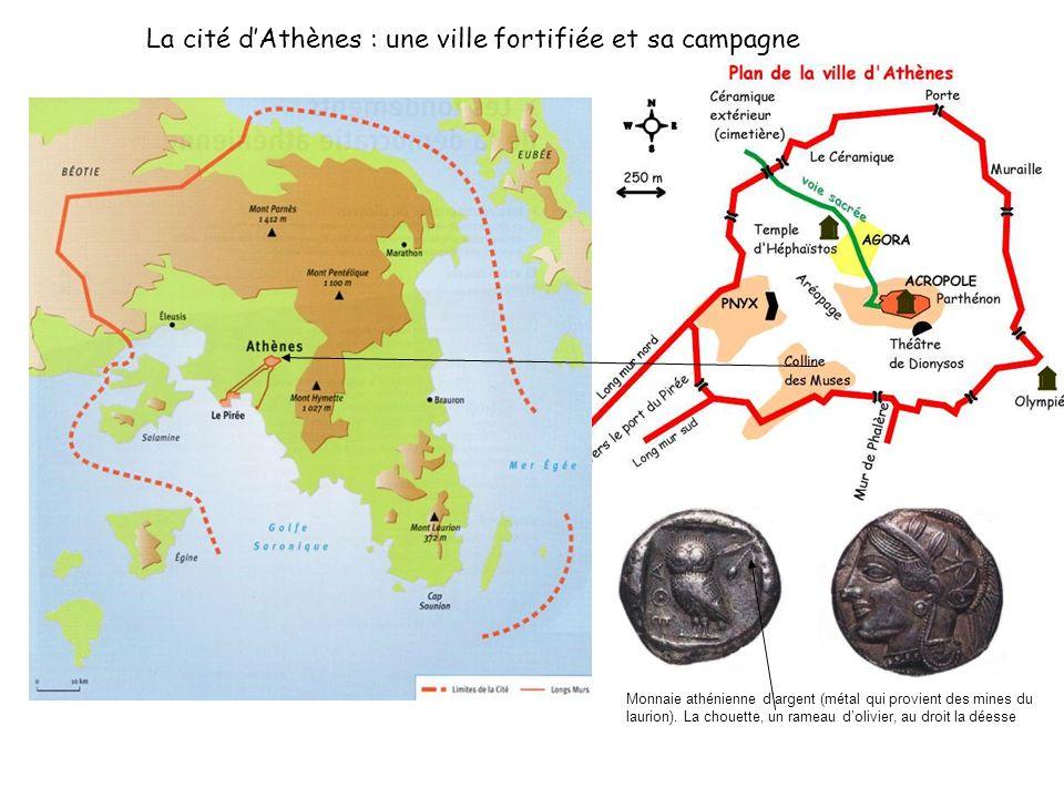 La cité dAthènes : une ville fortifiée et sa campagne Monnaie athénienne dargent (métal qui provient des mines du laurion). La chouette, un rameau dol