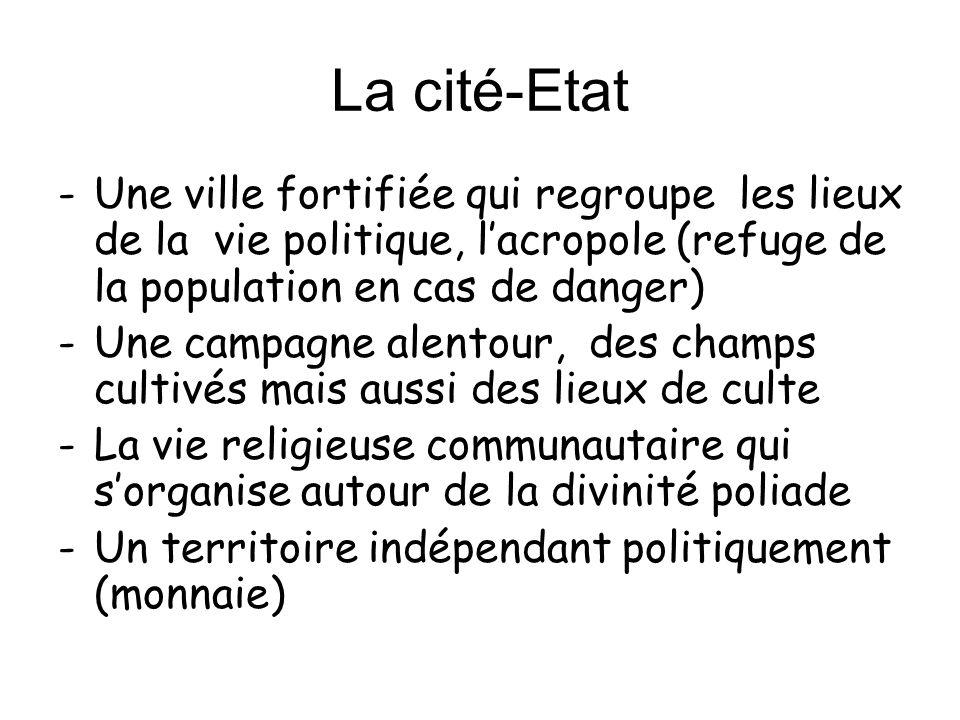 La cité-Etat -Une ville fortifiée qui regroupe les lieux de la vie politique, lacropole (refuge de la population en cas de danger) -Une campagne alent