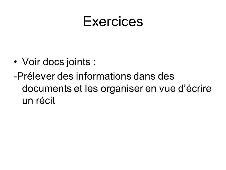 Exercices Voir docs joints : -Prélever des informations dans des documents et les organiser en vue décrire un récit