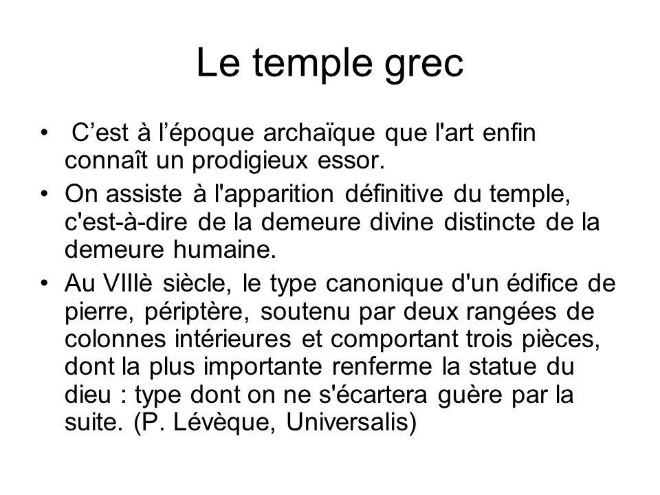Le temple grec Cest à lépoque archaïque que l'art enfin connaît un prodigieux essor. On assiste à l'apparition définitive du temple, c'est-à-dire de l