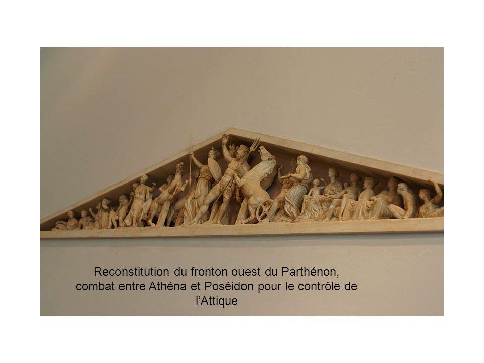 Reconstitution du fronton ouest du Parthénon, combat entre Athéna et Poséidon pour le contrôle de lAttique