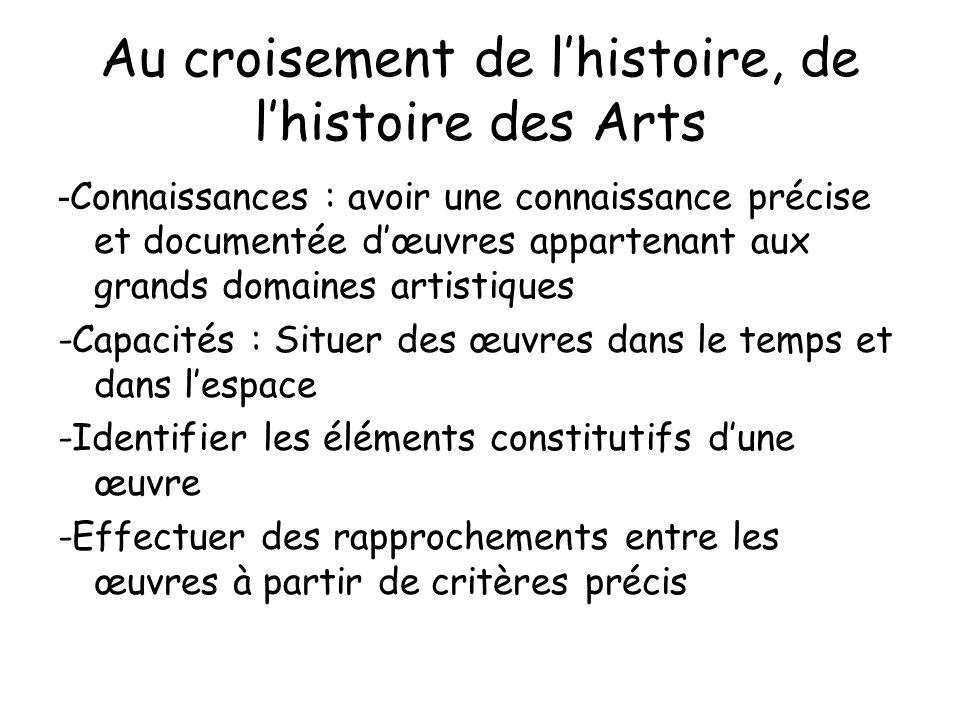Au croisement de lhistoire, de lhistoire des Arts - Connaissances : avoir une connaissance précise et documentée dœuvres appartenant aux grands domain