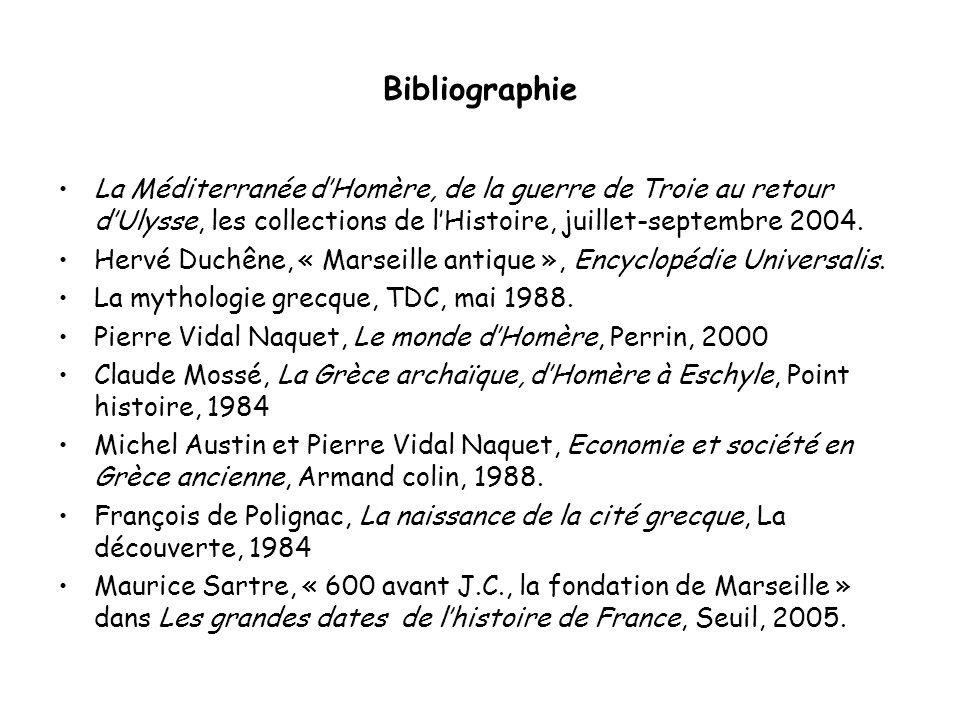Bibliographie La Méditerranée dHomère, de la guerre de Troie au retour dUlysse, les collections de lHistoire, juillet-septembre 2004. Hervé Duchêne, «
