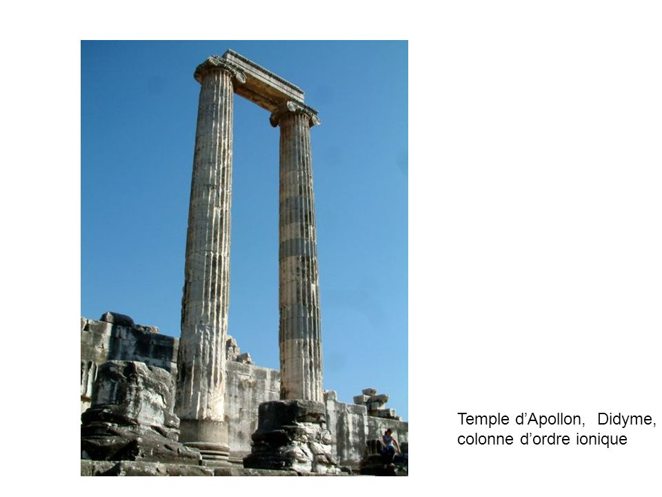 Larchitecture grecque (et romaine) Temple dApollon, Didyme, VIè av JC Nymphée romain, Bosra, Syrie, IIè siècle Parthénon, Athènes, Vè siècle av JC