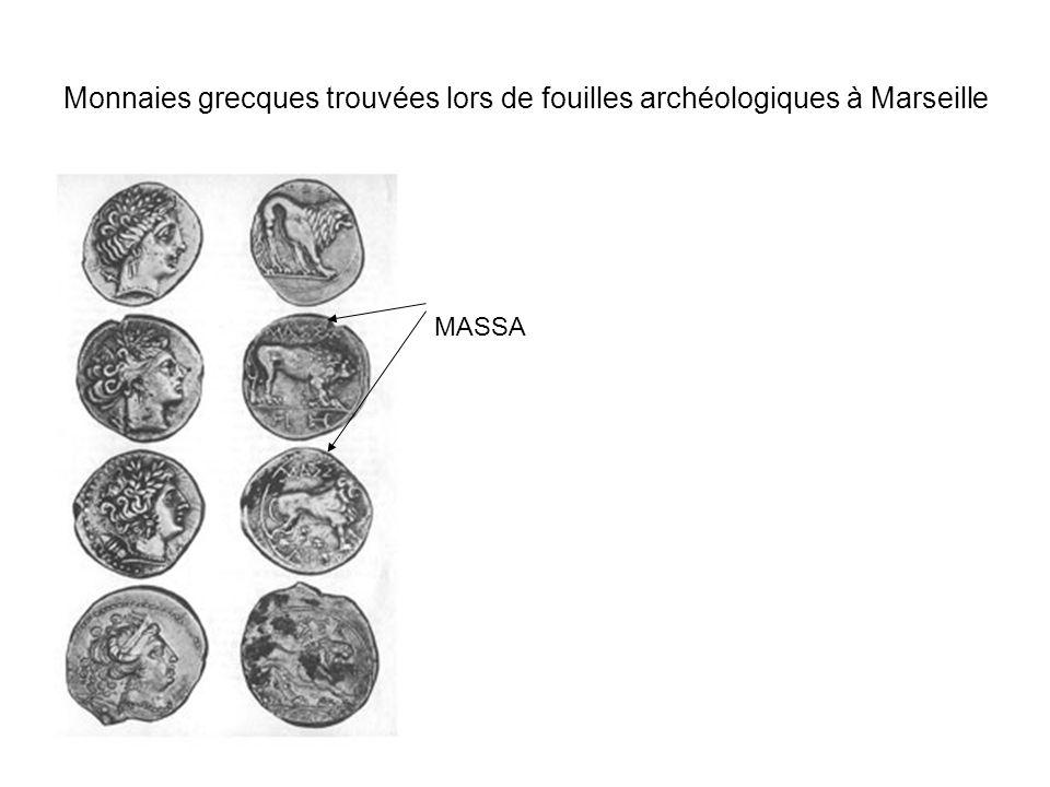 Monnaies grecques trouvées lors de fouilles archéologiques à Marseille MASSA