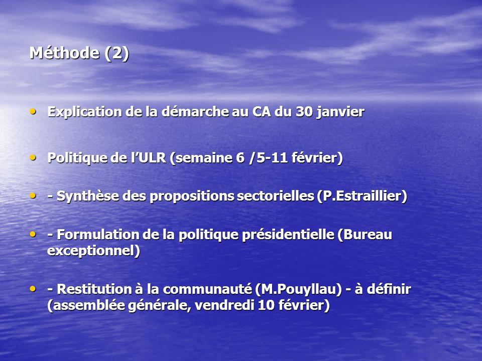 Méthode (2) Explication de la démarche au CA du 30 janvier Explication de la démarche au CA du 30 janvier Politique de lULR (semaine 6 /5-11 février) Politique de lULR (semaine 6 /5-11 février) - Synthèse des propositions sectorielles (P.Estraillier) - Synthèse des propositions sectorielles (P.Estraillier) - Formulation de la politique présidentielle (Bureau exceptionnel) - Formulation de la politique présidentielle (Bureau exceptionnel) - Restitution à la communauté (M.Pouyllau) - à définir (assemblée générale, vendredi 10 février) - Restitution à la communauté (M.Pouyllau) - à définir (assemblée générale, vendredi 10 février)