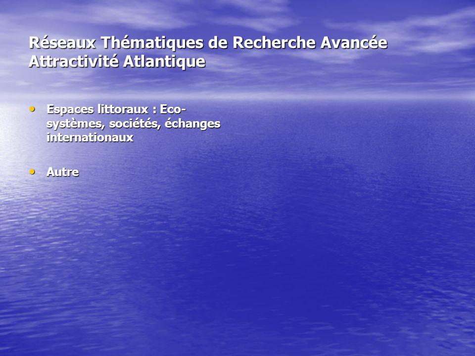Réseaux Thématiques de Recherche Avancée Attractivité Atlantique Espaces littoraux : Eco- systèmes, sociétés, échanges internationaux Espaces littoraux : Eco- systèmes, sociétés, échanges internationaux Autre Autre