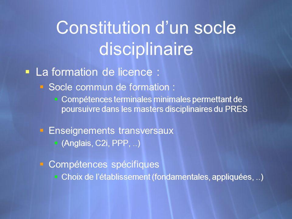 Constitution dun socle disciplinaire La formation de licence : Socle commun de formation : Compétences terminales minimales permettant de poursuivre d