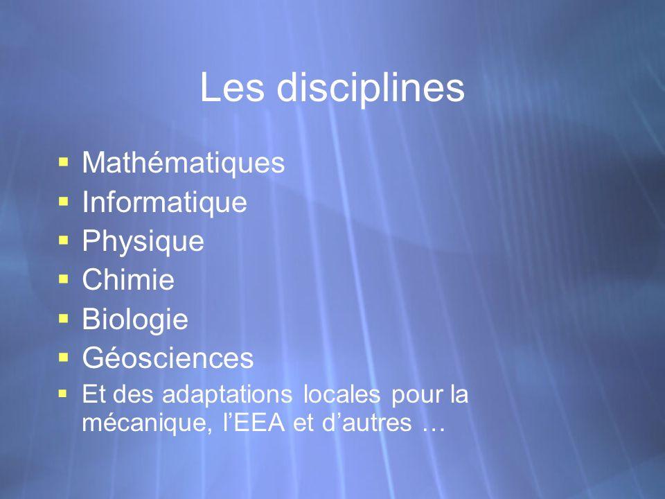Les disciplines Mathématiques Informatique Physique Chimie Biologie Géosciences Et des adaptations locales pour la mécanique, lEEA et dautres … Mathém